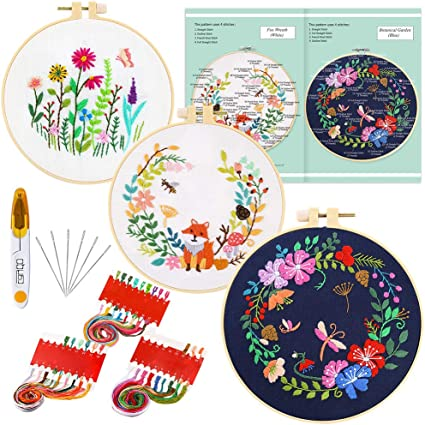 Caydo 3 Sets Full Range of Embroidery Starter Kit with Pattern and Instructions Color Threads and Tools 3 Plastic Embroidery Hoops Cross Stitch Kit Include 3 Embroidery Clothes with Floral Pattern