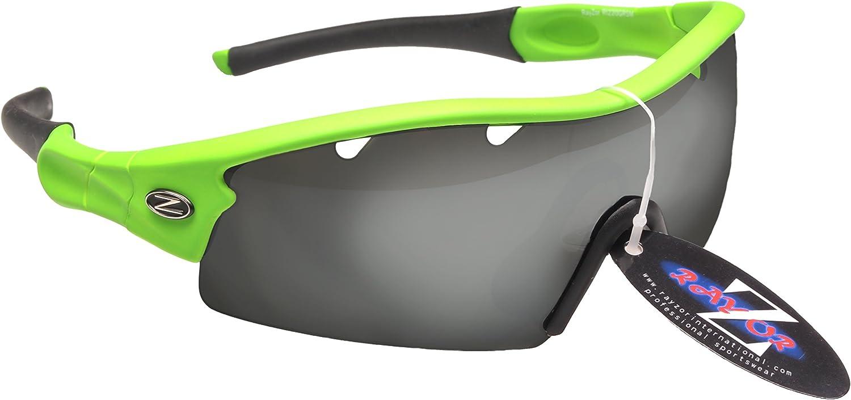 Rayzor Profesionales Ligeros UV400 Verdes Deportes Wrap Running Gafas de Sol, con un 1 Pieza con ventilación ahumada antideslumbrante Lente con Espejo