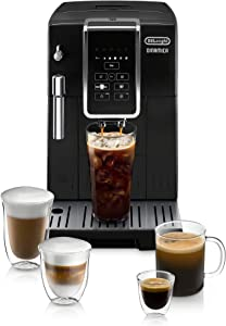 De'Longhi Dinamica Automatic Coffee & Espresso Machine TrueBrew (Iced-Coffee), Burr Grinder + Descaling Solution, Cleaning Brush & Bean Shaped Icecube Tray, Black, ECAM35020B