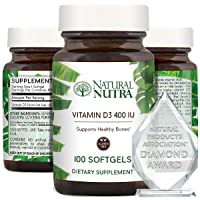 Natural Nutra Supreme Vitamin D3 400 IU Softgels, Supplement for Immune Support, Sunshine Vitamin, Bone and Teeth Strength, Cellular and Muscle Health, Gluten Free, Non-GMO, 100 Count