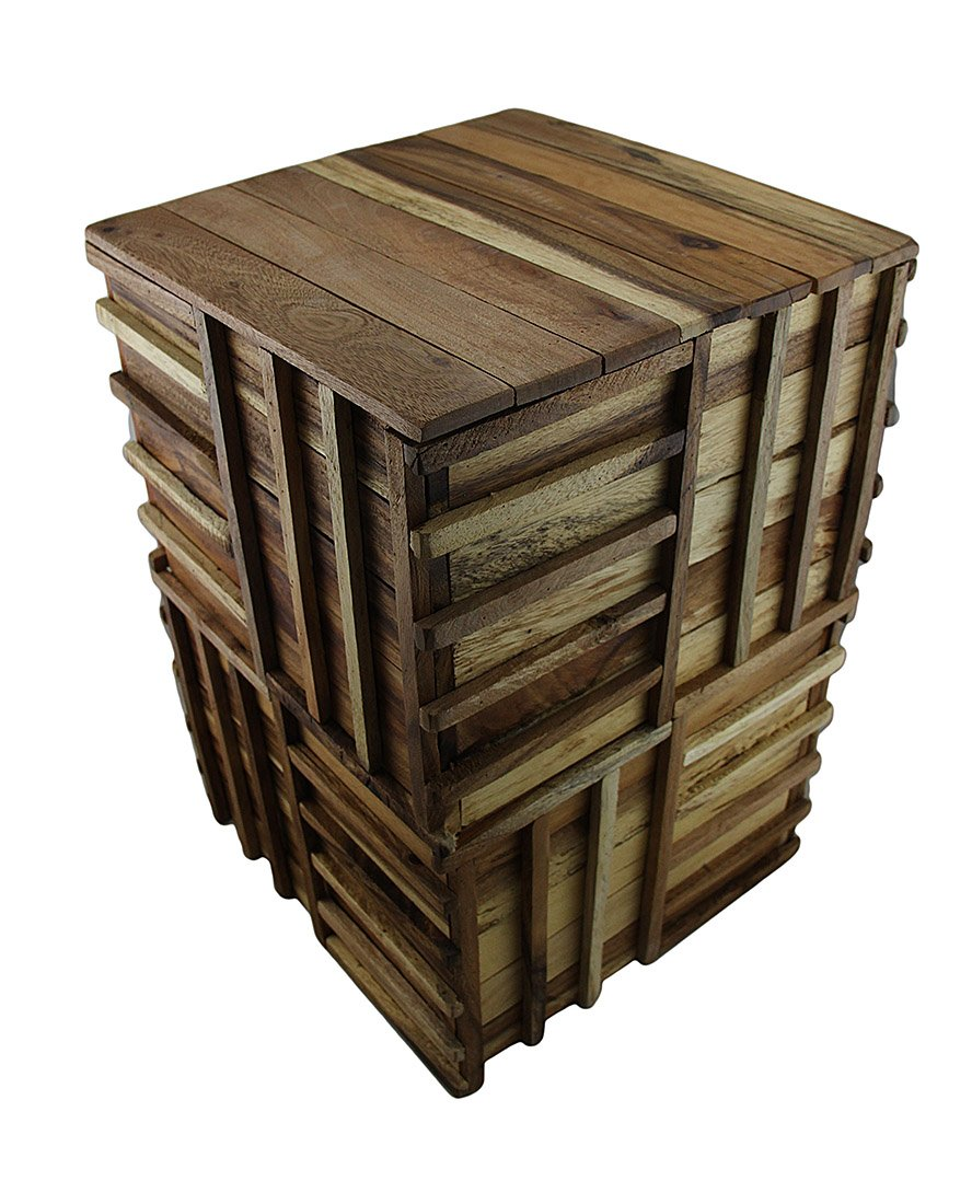 Wood Plant Stands Weaved Recycled Acacia Wood Accent Stool/Plant Stand 13.25 X 19.5 X 13.25 Inches Brown Model # 29806 by Zeckos