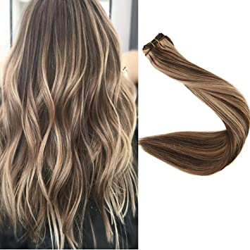Full Shine 20 Inch Real Remy Human Hair Extensions Double Wefted Hair Weft Bundle Extensions Real Hair
