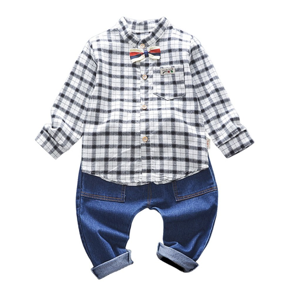 Loveble Blouse Checkered + Denim Jeans for Toddler Baby Boys Kids Boys 6-12 M,1-4 yrs Old by Bottoned,Long Sleeves