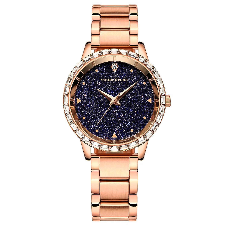 腕時計 レディース革バンド 丸い星空 青色 ファッション 高級 ブランド 時計 B071S396QQ
