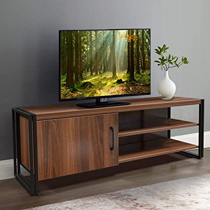 Amzdeal – Mueble para TV de hasta 55 pulgadas, con marco de metal, mueble bajo para salón, mueble de madera, 112 x 40 x 30 cm, color marrón oscuro: Amazon.es: Electrónica