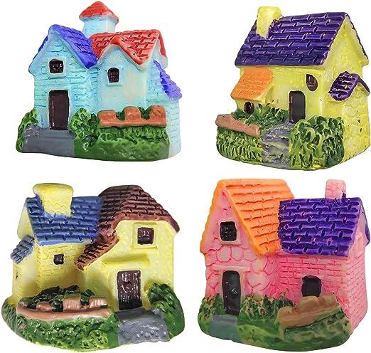 ZJW 4 Piezas Kit de Adornos de Hadas Miniatura, Accesorios de jardín Miniatura Bonsai Craft Garden Resin Landscape DIY Villa Decor, Regalo de cumpleaños para niños: Amazon.es: Jardín