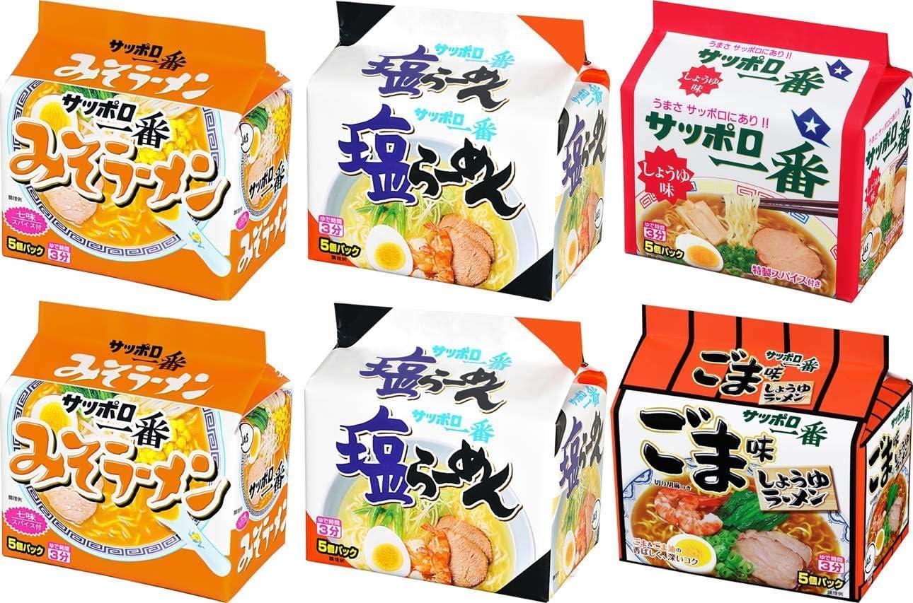 Amazon | サッポロ一番 袋ラーメン 5食P×6個(塩5食P×2、味噌5食P×2 ...