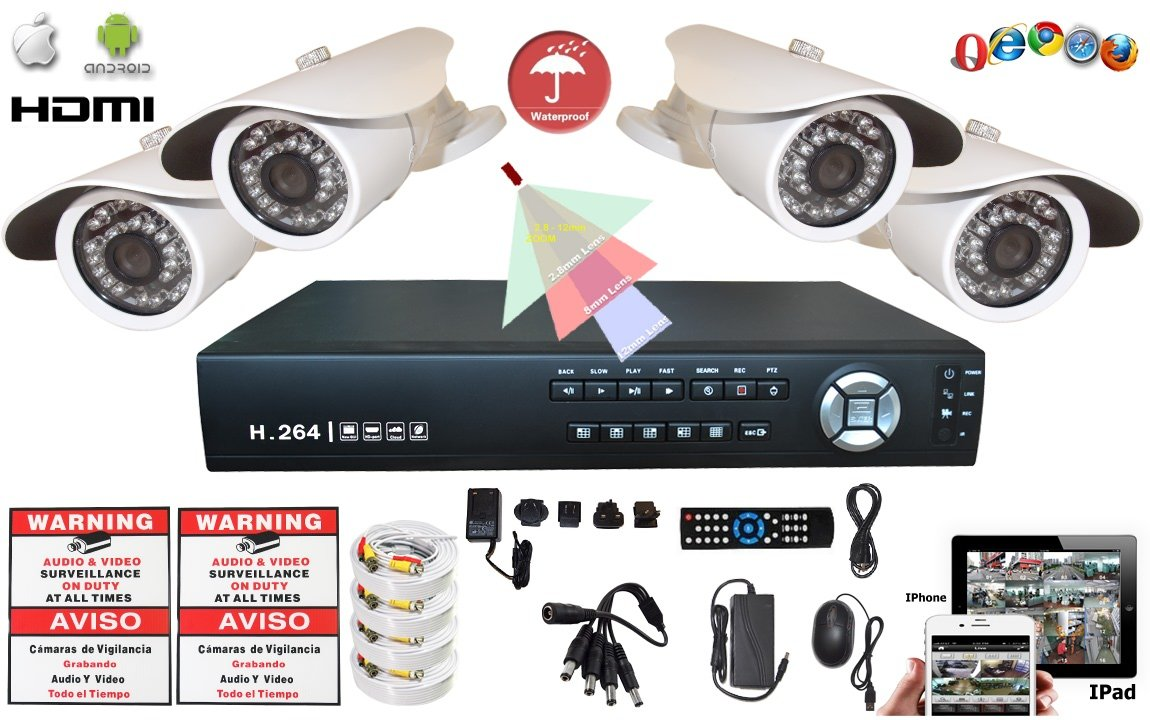 Amazon.com : Evertech 8 Channel 960H HDMI D1 DVR Cloud Option Outdoor / Indoor 800TVL Bullet Cameras + 2 Big Sign Security Surveillance System : Camera & ...