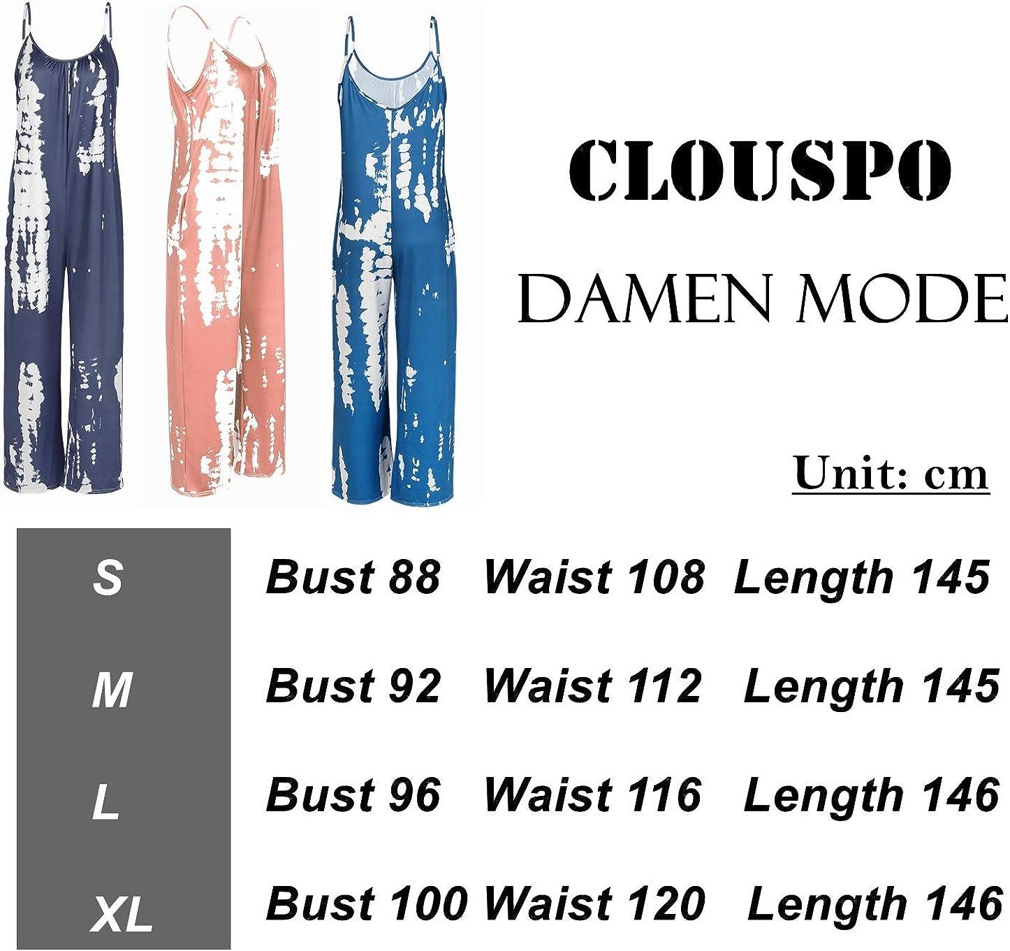 CLOUSPO Damen Jumpsuit Lose /Ärmellos Sommer Lang Overall Einteiler Hosenanzug Romper Playsuit