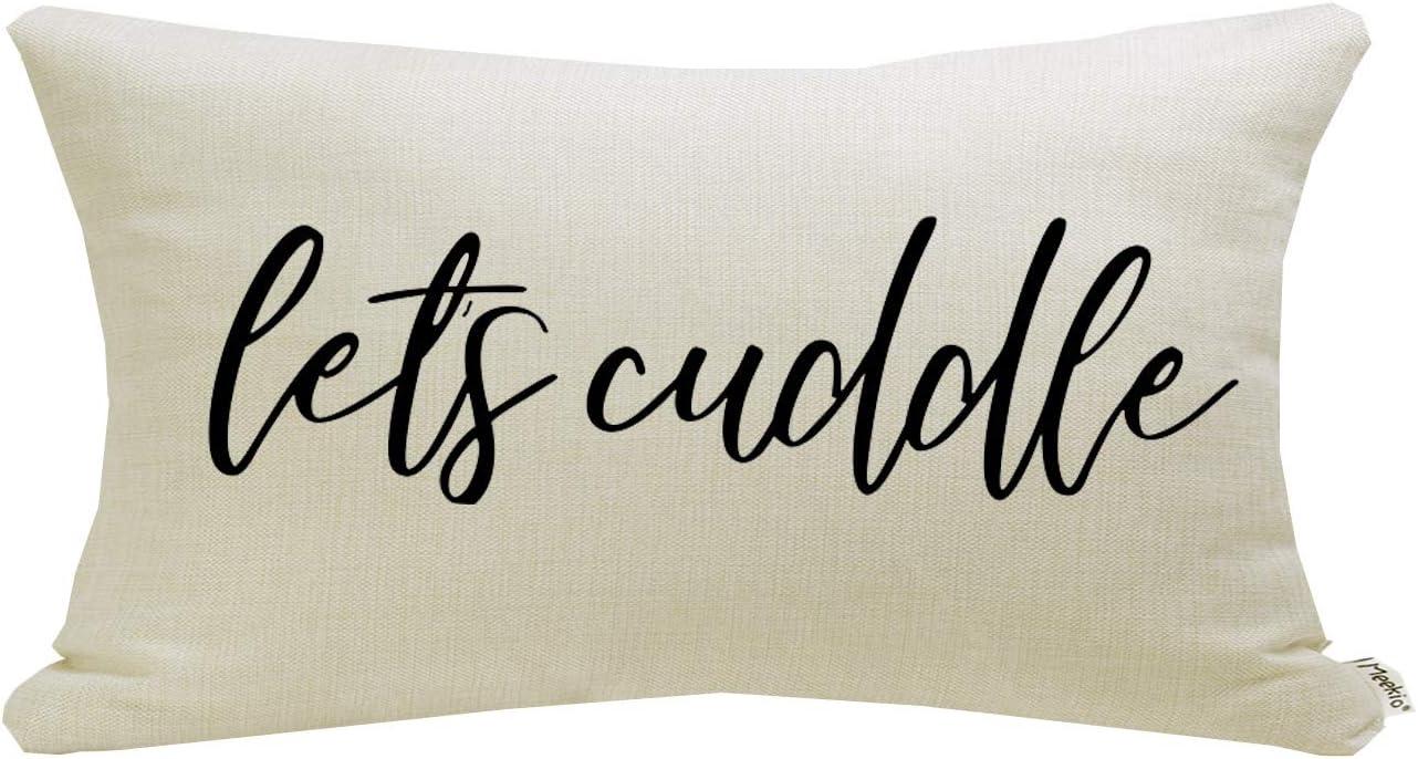Meekio Farmhouse Pillow Covers with Let's Cuddle Quote 12 x 20 inch Farmhouse Rustic Décor Lumbar Pillow Covers with Saying Housewarming Gifts Family Room Décor