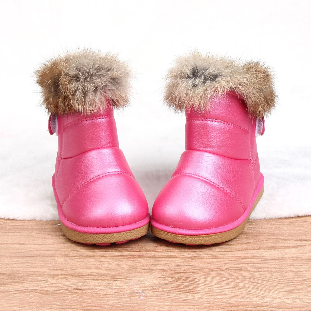 CieKen Baby Girls Knit Soft Fur Winter Warm Snow Boots Crib Shoes