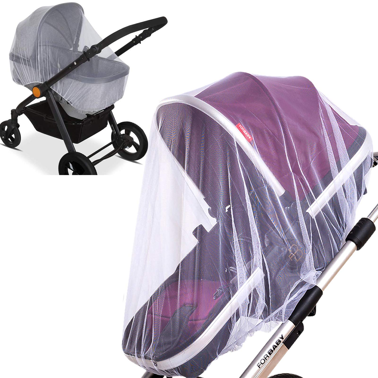 Cradles White Encrypted Stroller Mosquito Net Full Cover HJQJ Stretchable Netting Breathable Folding Dual-Use Zipper Mesh Mosquito Net for Baby Car seat Cover Mosquito Netting for Stroller