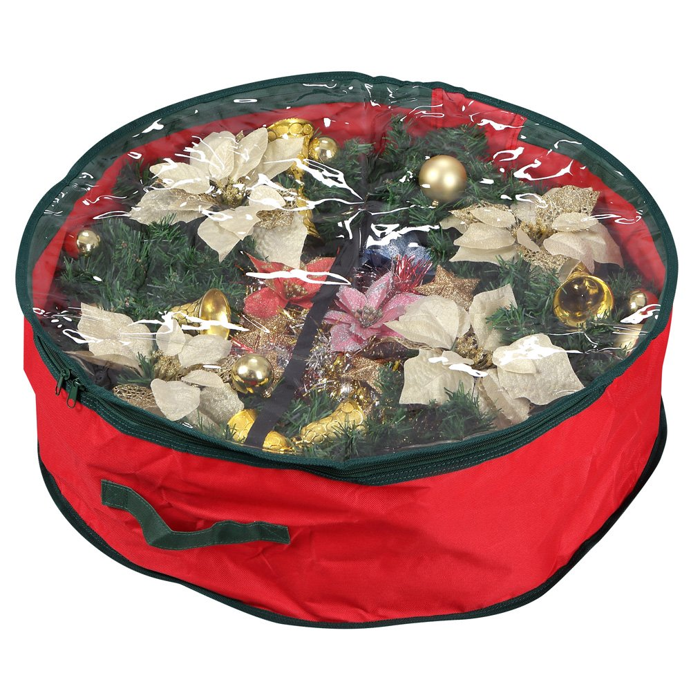 "Primode Wreath Storage Bag with Clear Window | Garland or Xmas Wreath Container for Easy Storage (30"" Holiday Wreath Bags) (Red)"