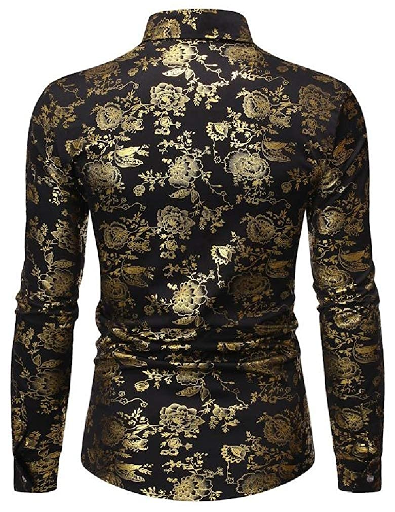 Wofupowga Mens Slim Metallic Jacquard Lapel Neck Button Down Shirts