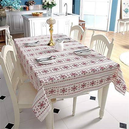 DHHY Mantel de algodón de Lino Copos de Nieve Rojos Mantel de ...