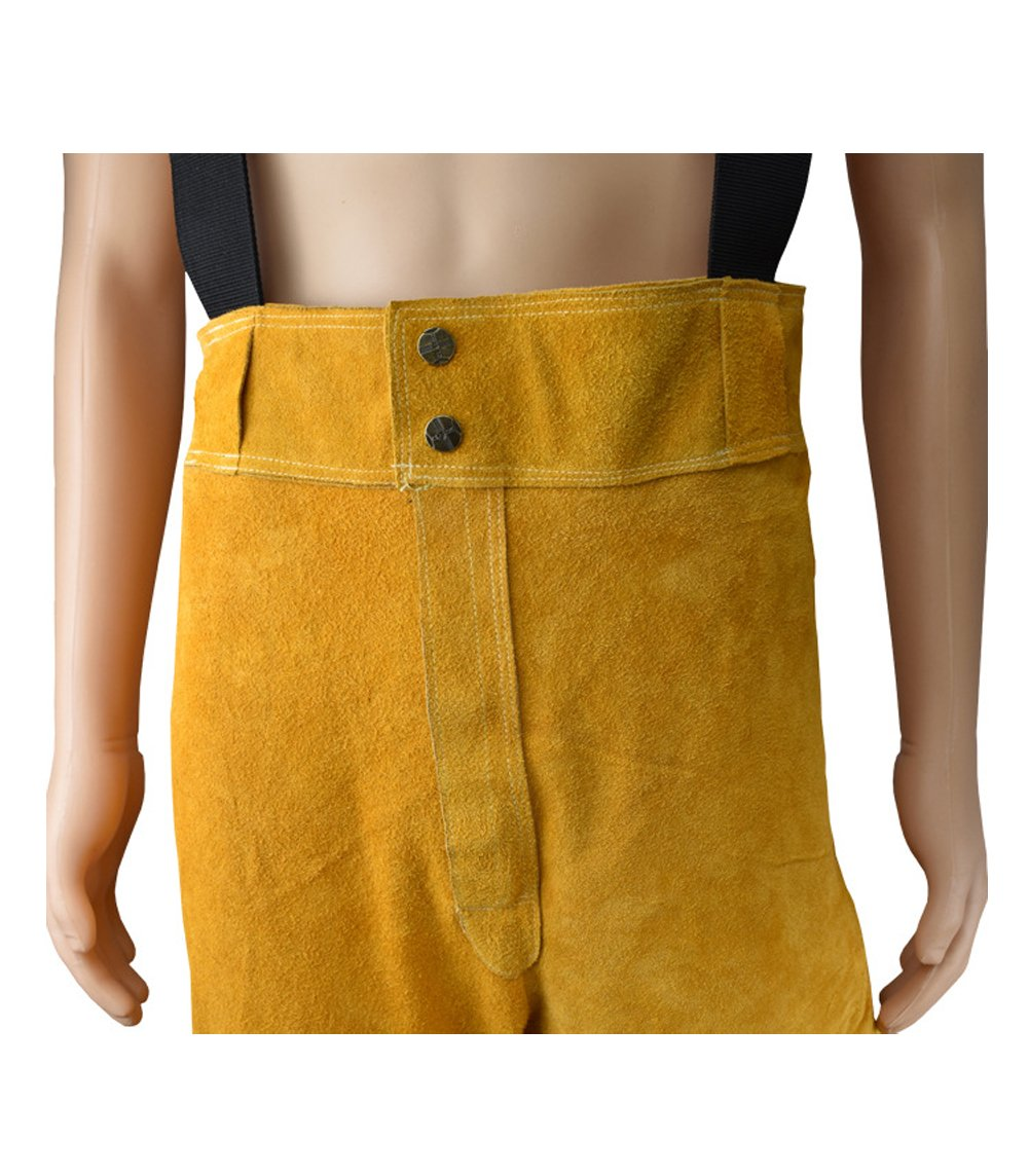 Welding Jacket and Trousers Heavy Duty Genuine Cowhide L Size Heat Flame-Resistant Welding Bib Apron Safety Apparel Long Coat Welding Suit HJ0002 by TUYU (Image #6)
