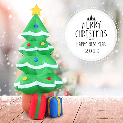 Goplus 4FT Inflatable Christmas Tree Ornament Indoor Outdoor Christmas Yard  Decoration Holiday Decorations, Colorful Christmas Tree