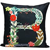 Gotd Multicolor Pillow Flower Letters Pillow Christmas Decorations Decor Square Linen Blend Christmas Pillow Case Sofa Waist Throw Pillow Cushion Cover 45cm 18inch (B)