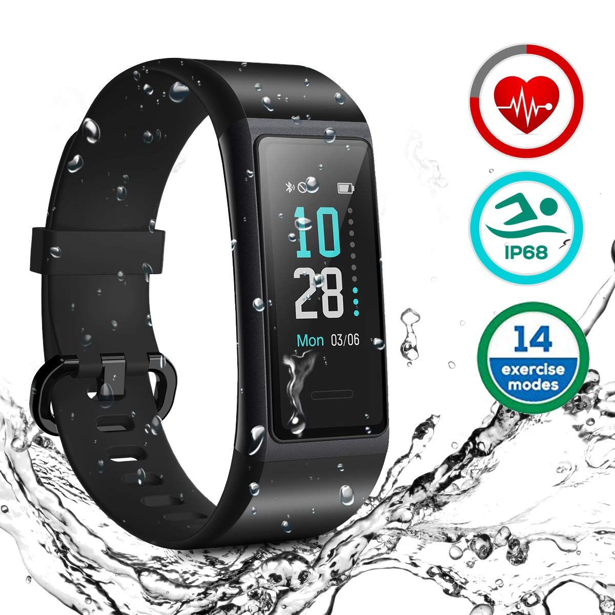 HOMVILLA Fitness Tracker, Smartwatch Activity Tracker Sports Smart Band Impermeabile IP68 Polsino Bluetooth con Monitor della frequenza cardiaca Pedometro Monitor del Sonno Caloria per iOS Android