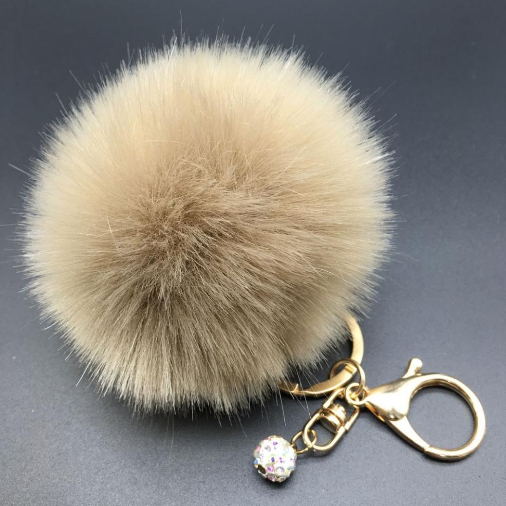 Susenstone Fluffy Faux Rabbit Fur Ball Charm Car Keychain Handbag Key Ring L