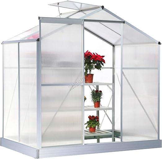 Invernadero de policarbonato transparente FoxHunter marco de aluminio con Base y puerta deslizante de 4 x 182, 88 cm: Amazon.es: Jardín