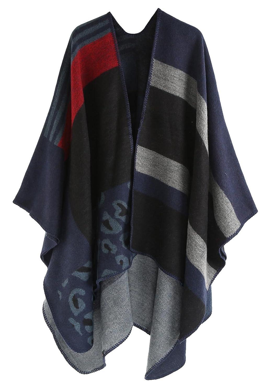 Blanket Scarf Shawl for Women Warm Winter Reversible Oversized Faux Fleece Blanket Poncho Cape Shawl Coat Grey 160 * 135cm HL23FEW