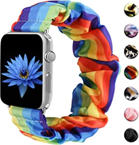 Amzpas Scrunchie Elastic Bands Compatible for Apple Watch Band 38mm 42mm Women Girl Cloth Rubber Band Bracelet for iwatch Series 6 5 4 3 2 1 (Colorful, 38mm/40mm-M/L)