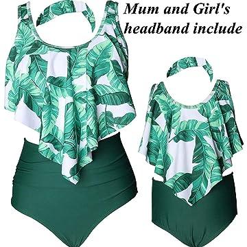 LiaoTI Bikini Swimsuits Retro Ruffled Flounce Crop Bikini Top with High Waisted Bottom Two Piece Tankini Set
