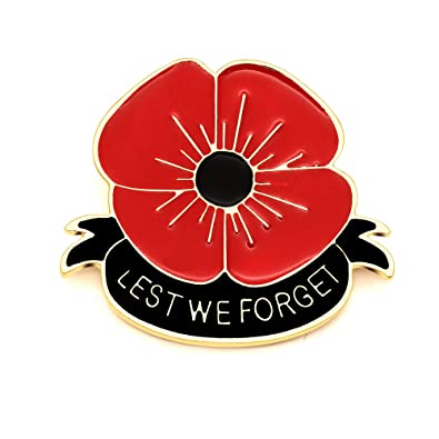 KENYG Red Poppy Flower Brooch Lest WE Forget for Women Remembrance ...