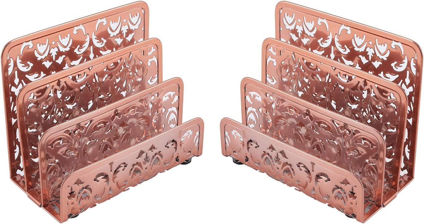 EasyPAG Desk Mail Organizer 2 Pack Office Small Letter Sorter Desktop File Organizer with 3 Vertical Upright Compartments,Rose Gold
