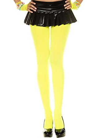 91df75261ab44 Music Legs Nylon Opaque Tights Neon Yellow One Size: Amazon.co.uk ...