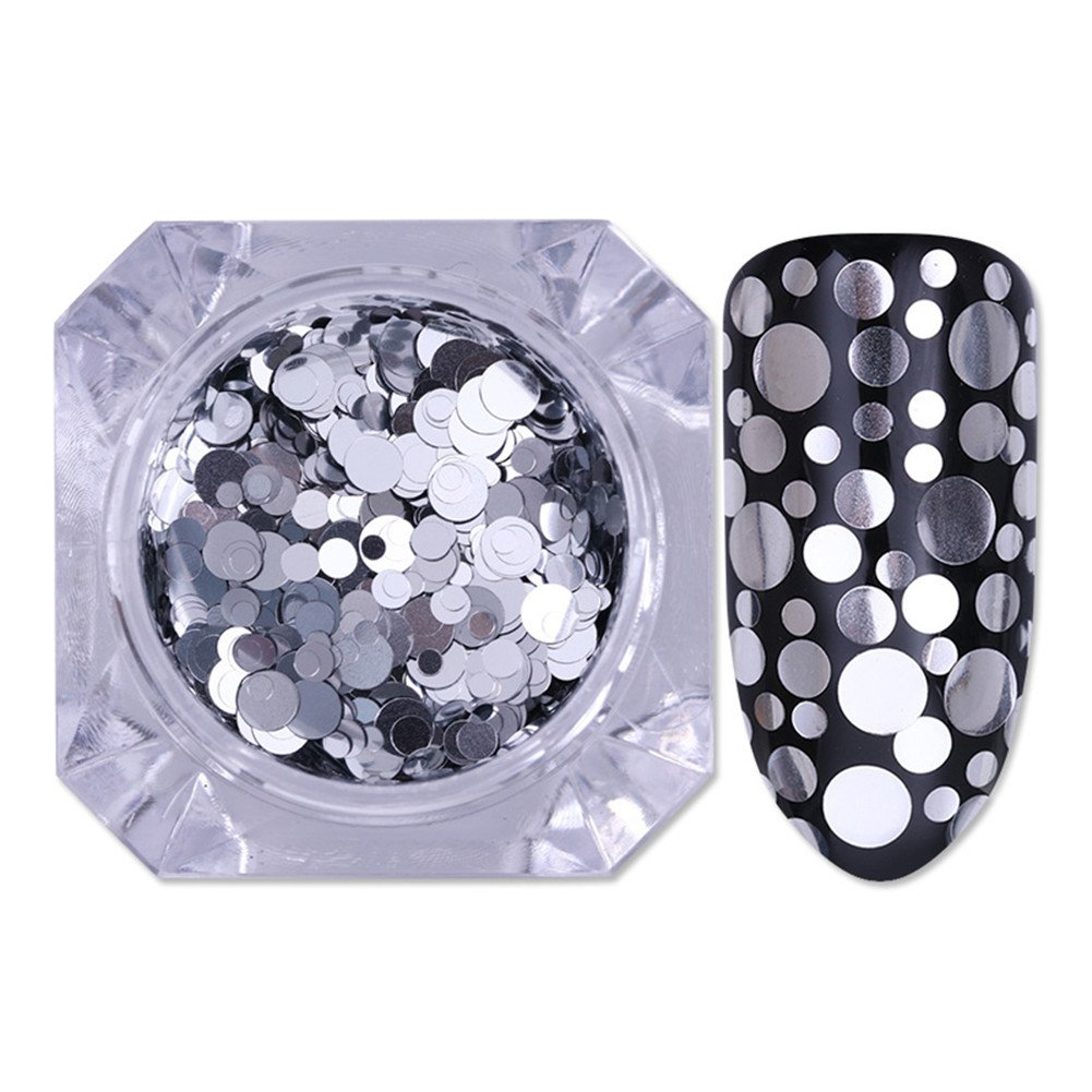 BORN PRETTY 1.5g Nail Art Holographic Flakies Silver Mixed Size Round Sequins Glitter Iridescent Paillette 2 Colors