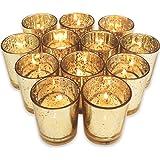 "Just Artifacts Speckled Mercury GlassVotiveCandle Holder 2.75"" H(12pcs,Gold Votives) - Includes 12, (8 hour burn) non-scented wax tea light candles"