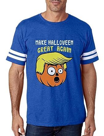 0fe7a4661d9a TeeStars - Make Halloween Great Again Trump Pumpkin Football Jersey T-Shirt  Small Blue/