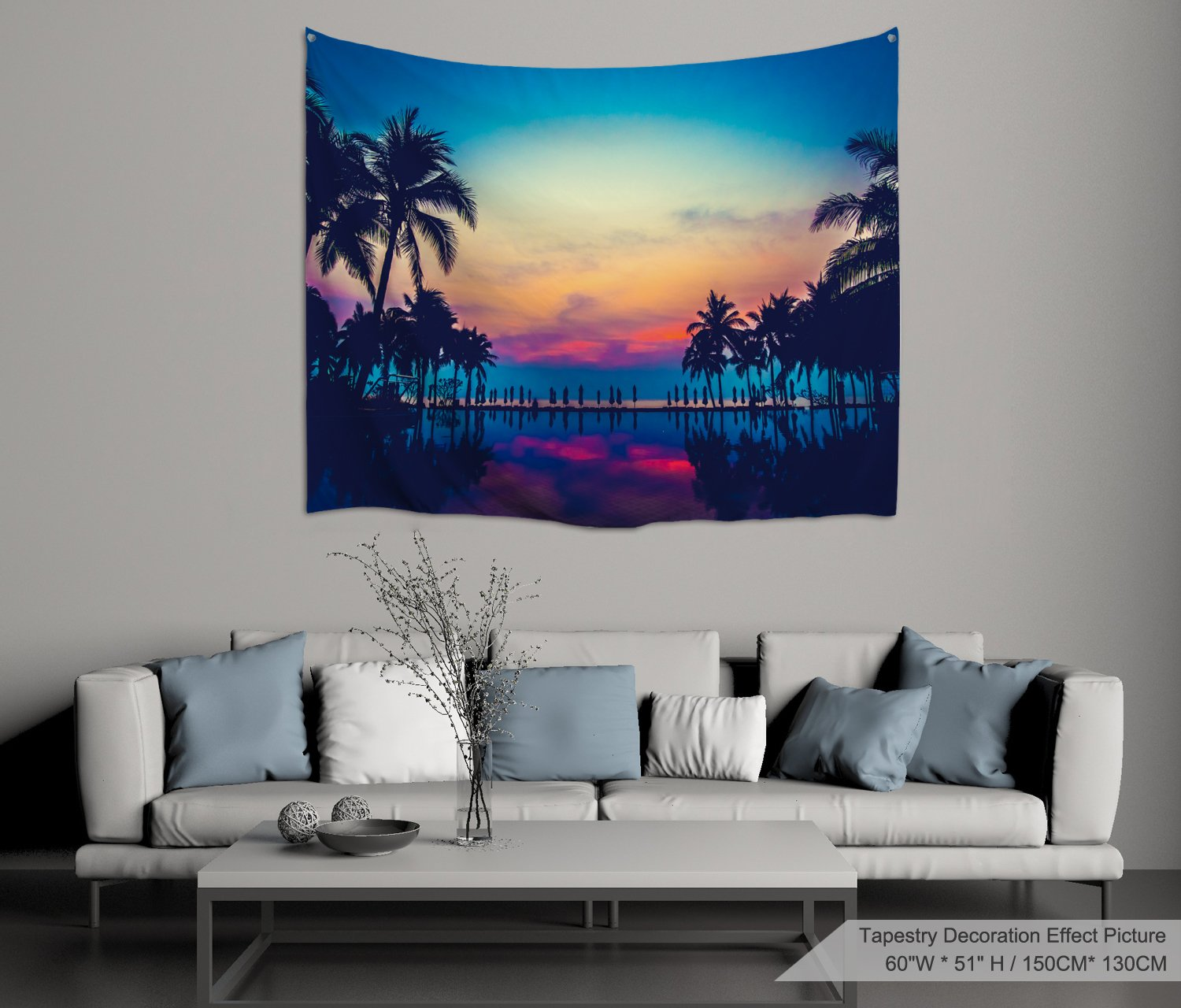 XINYI Home Wall Hanging Nature Art Polyester Fabric Coconut Tree Theme Tapestry, Wall Decor For Dorm Room, Bedroom, Living Room, Nail Included - 60'' W x 51'' H (150cmx130cm) - Sunset
