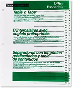 AVERY-DENNISON 11680 Office Essentials Table `N Tabs Dividers, 31-Tab, 1-31, Letter, White, 1 Set
