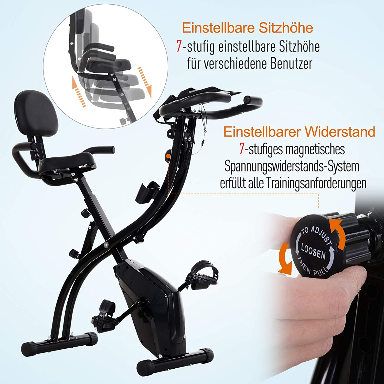HOMCOM Heimtrainer Fahrradtrainer mit 8 stufig Magnetwiderstand Gelb//Schwarz