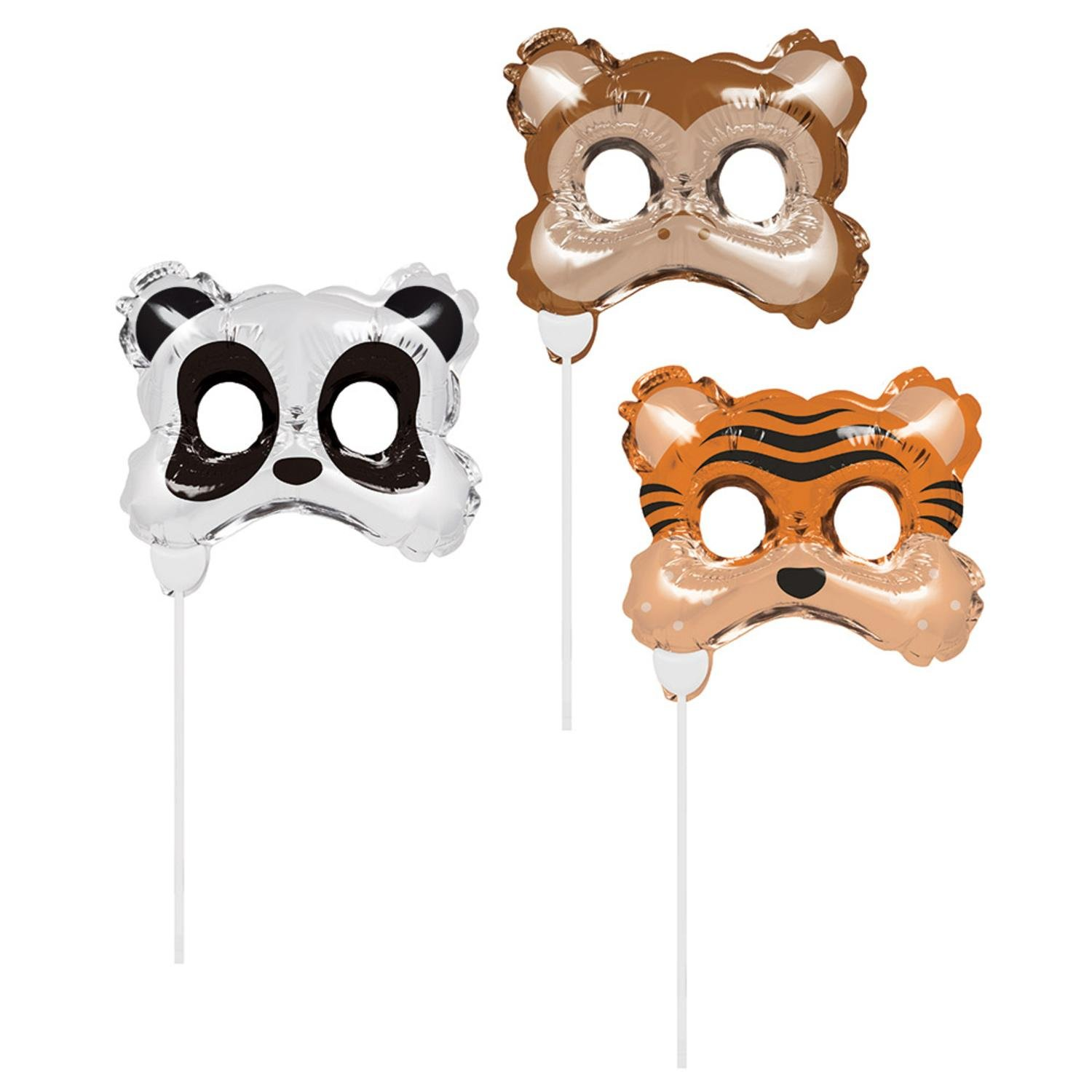 Club Pack of 18 Brown and Black Animal Mask Party Balloon Photo Props 11''