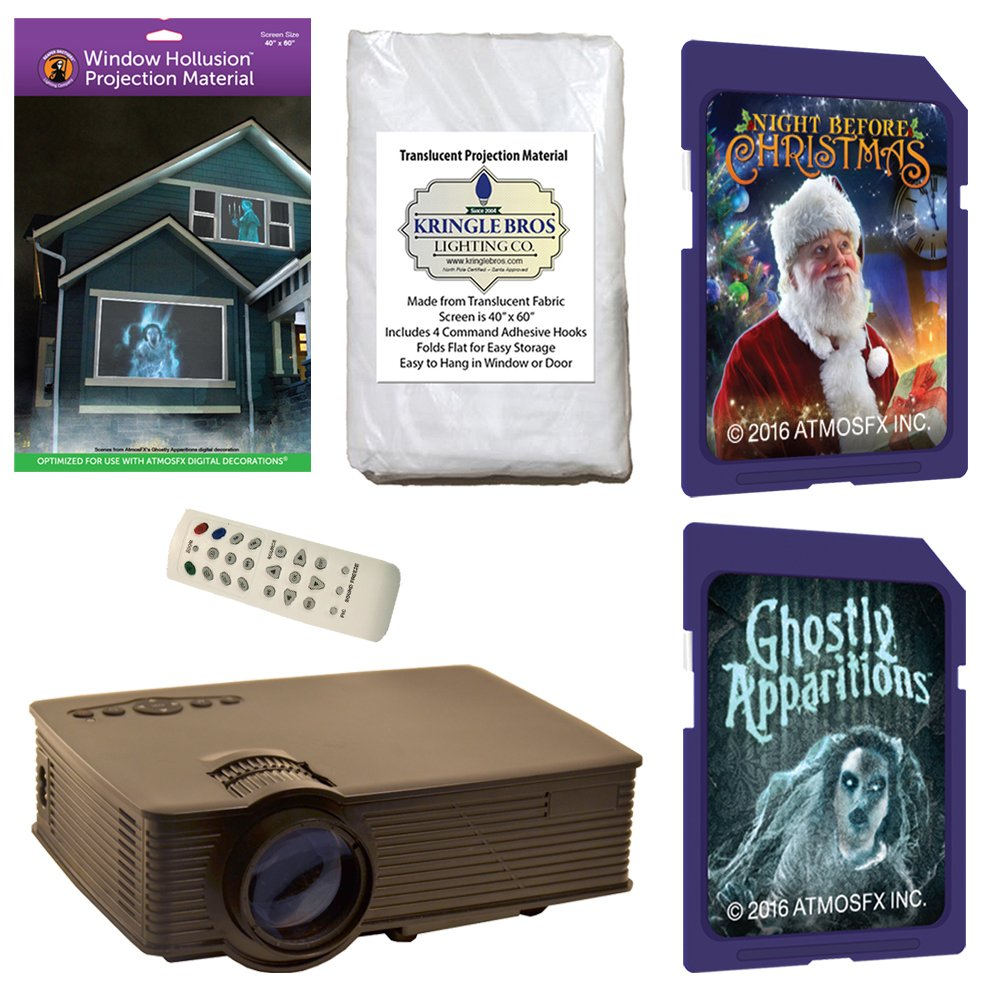 amazoncom atmosfearfx christmas and halloween digital decoration kit includes 1900 lumen projector hollusion reaper bros rear projection screens night