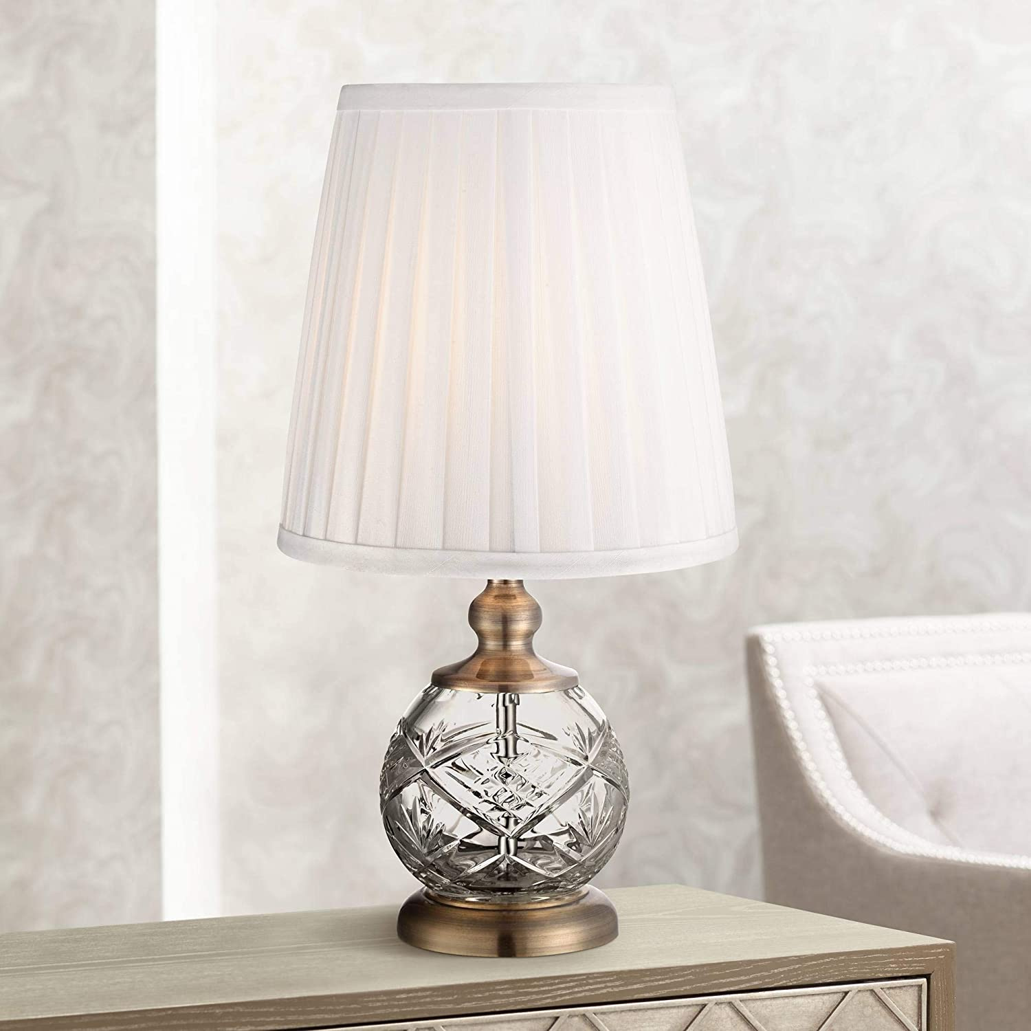 """Ida Crystal Sphere and Brass 15"""" High Mini Accent Table Lamp"""
