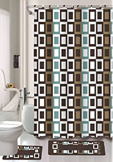 Gorgeous Home 15PC CHOCOLATE BROWN CHECKERS SQUARES #J4 DESIGN BATHROOM  BATH MATS SET RUG CARPET