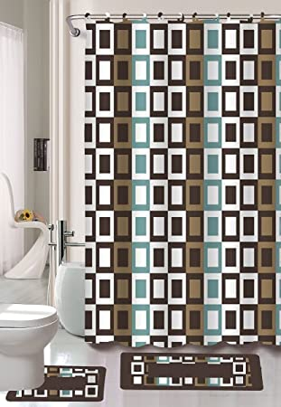 Gorgeous Home DIFFERENT COLORS 15PC CHECKER DESIGNS BATHROOM BATH MATS SET RUG NON