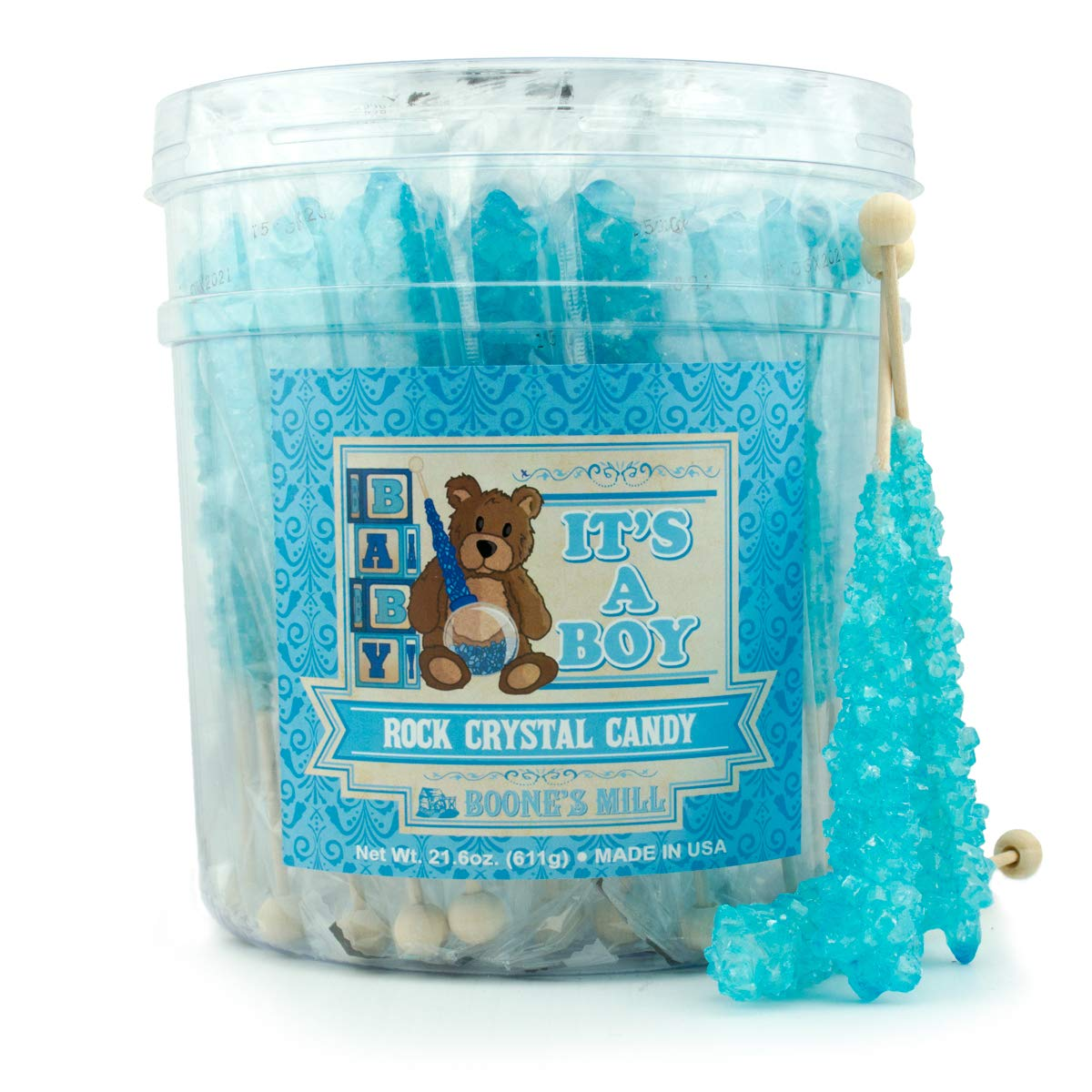 Gender Reveal Rock Crystal Candy Sticks | It's A Boy! | 36 Count Blue Blueberry | Boone's Mill