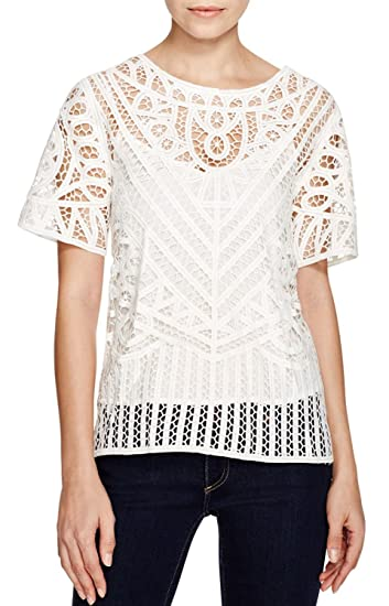 cb7074b1f Image Unavailable. Image not available for. Color: SUNCOO Women's Parisian  Lukas Lace Short Sleeve Boxy Top ...