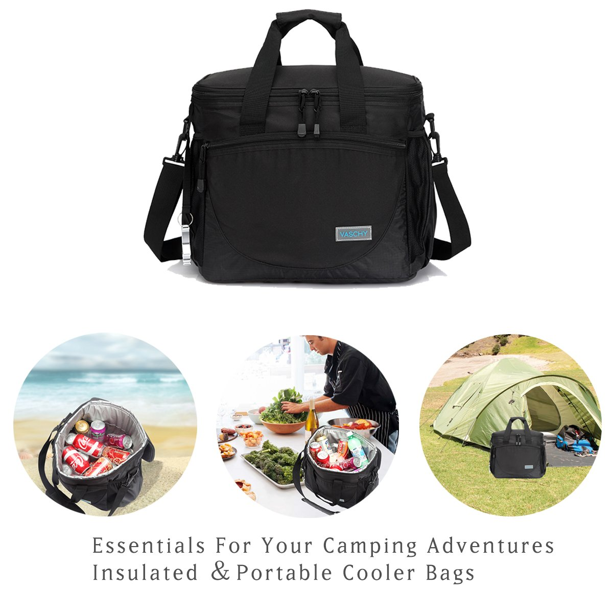 Fishing with Detachable Shoulder Strap,Beer Opener Black VACB095BA Beach VASCHY Large Cooler Bag 30-Can 23L Insulated Leakproof Picnic Lunch Bag Multi-Pockets for Camping Travel