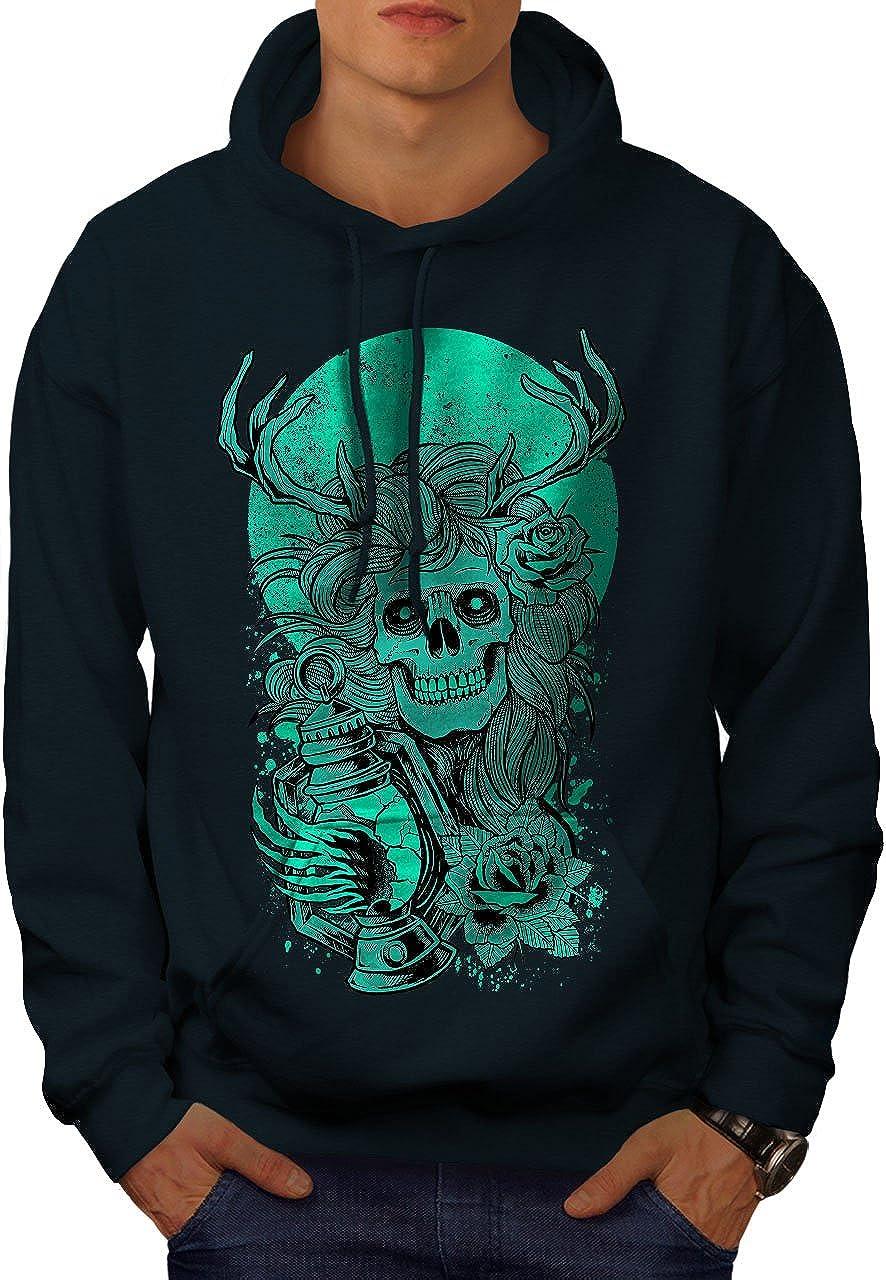 wellcoda Face Nature Girl Skull Mens Hoodie Evil Hooded Sweatshirt