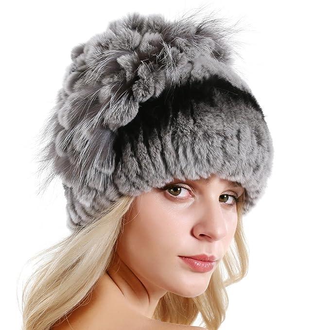 d7dbf028b1f Queenfur Rabbit Fur Hat Real Fur Knit Beanie Winter Skullies Fox Fur Pompom  Caps  Amazon.ca  Clothing   Accessories