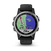 Fenix 5S Plus Smartwatch Multisport con Mappe GPS, Musica e Pagamento Contactless, Glass 42 mm, Silver con Cinturino Nero