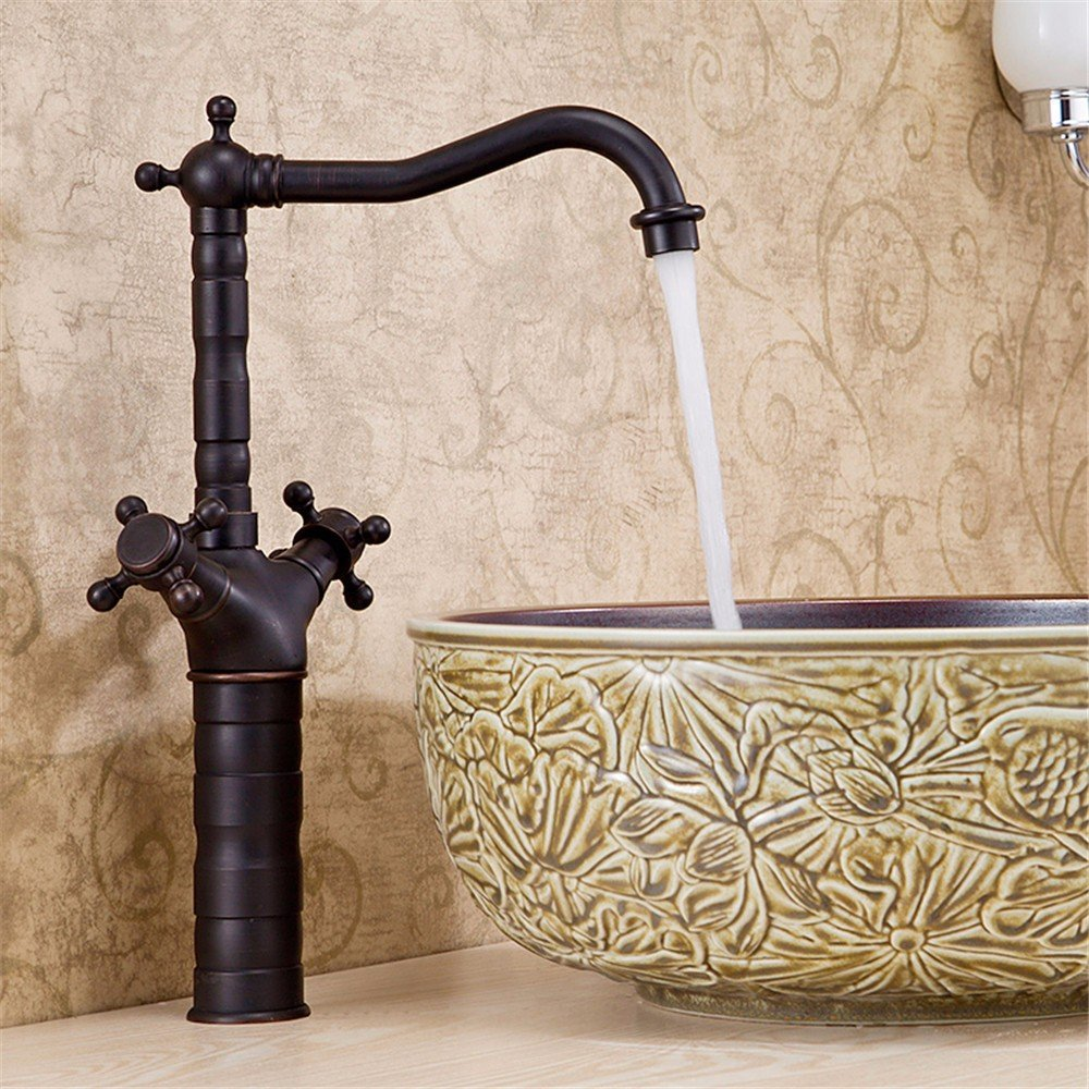 Hlluya Wasserhahn für Waschbecken Küche Küche Küche Die Kupfer Schwarz Antik schwarz Waschtisch Armatur Spüle universal Becken von Kalt-warmes Leitungswasser ecd7c2