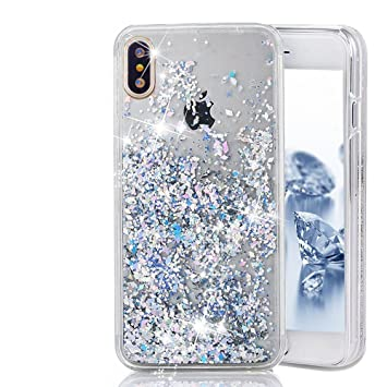 timeless design 295e2 d312a Jewby iPhone X Case, Silver Falling Glitter Liquid Case for iphone X with a  Free Screen Protector